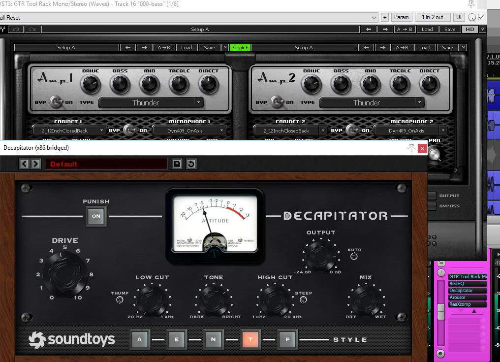 Simulador de amp e distorção na track do baixo (clique para ampliar)